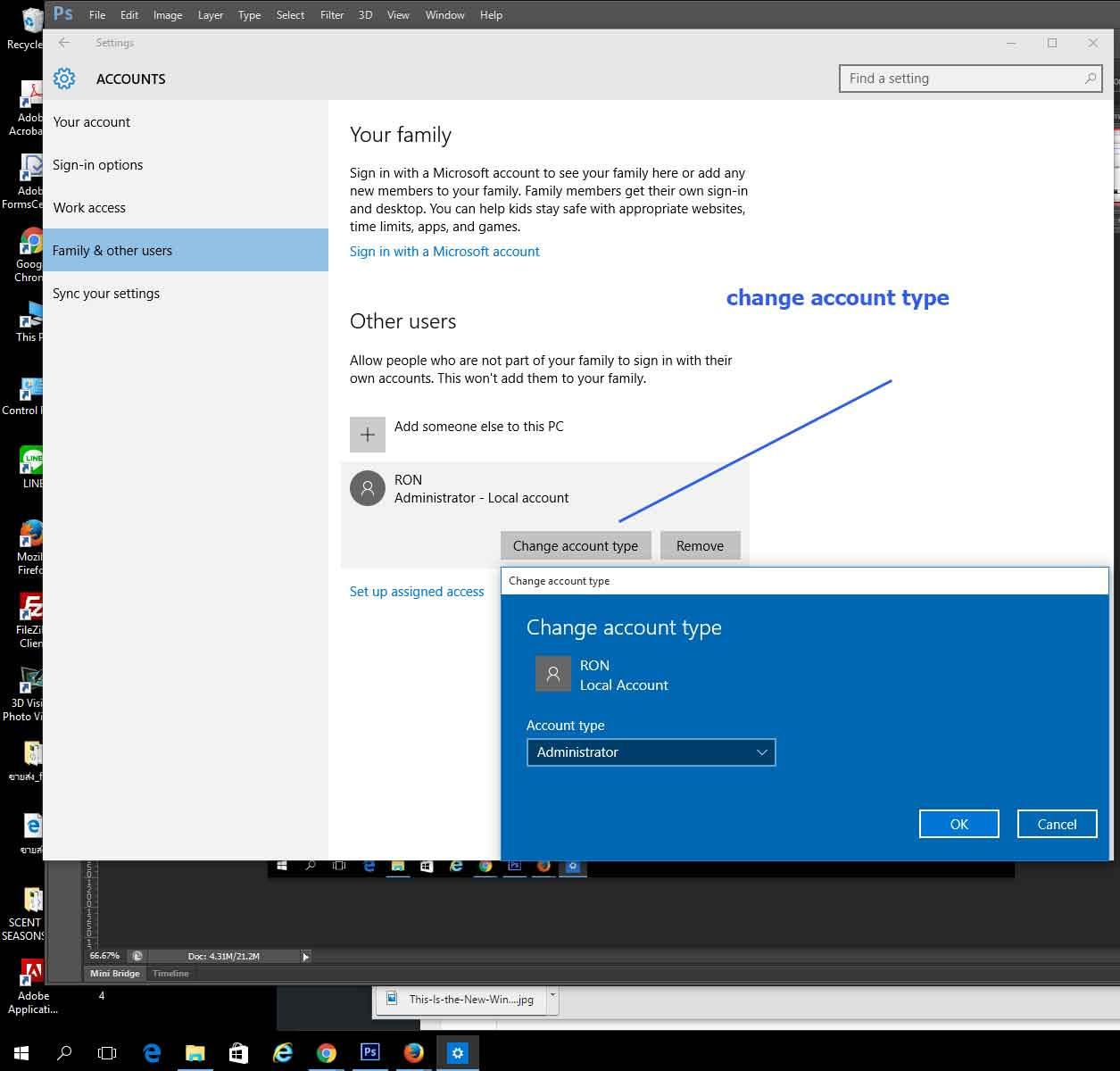 how to create a user account on win 10